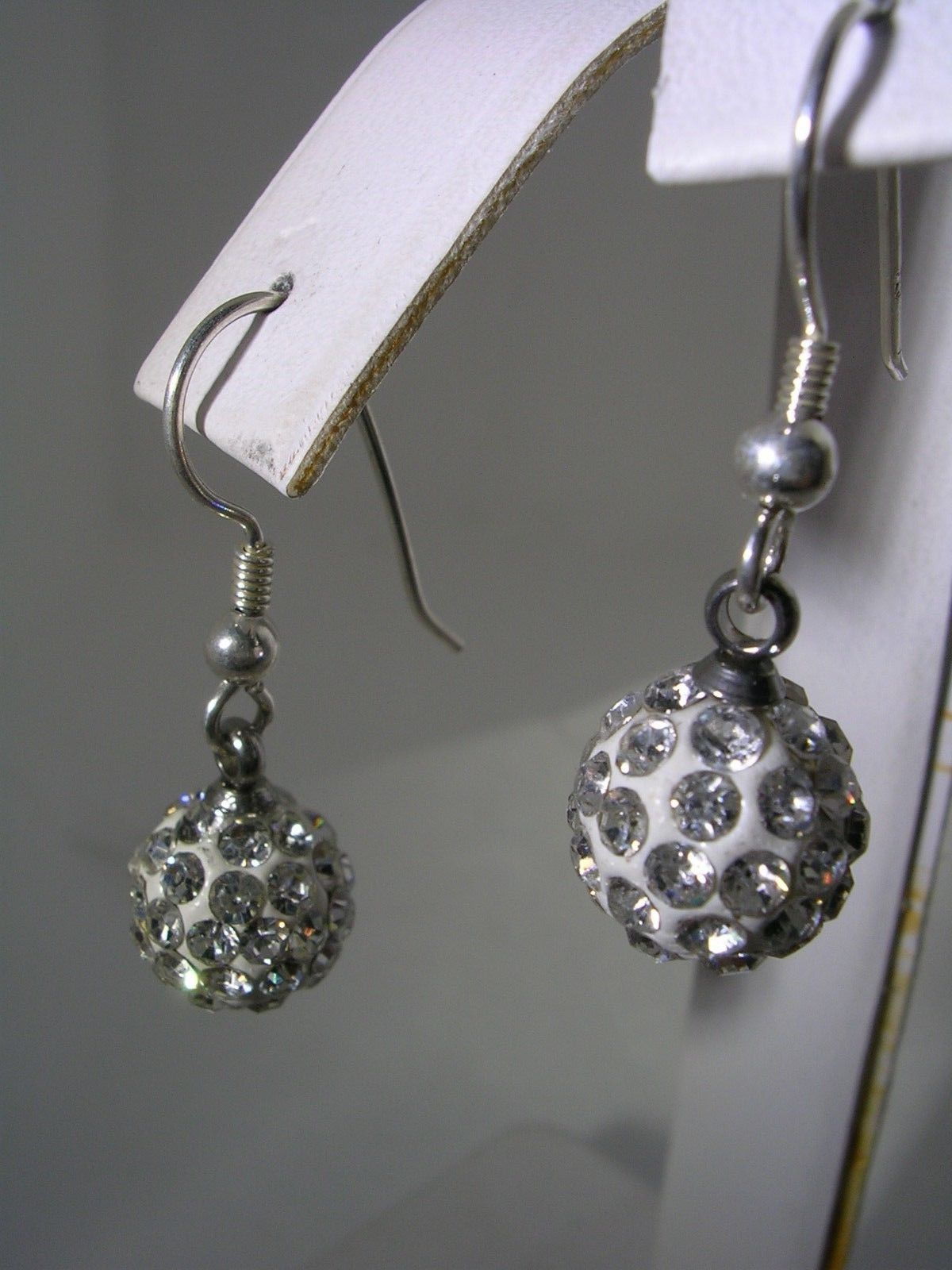 Primary image for WHITE CRYSTAL HANGING BALL EARRINGS IN STERLING SILVER