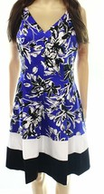 2575-2 Ralph Lauren Womens Floral Print V-Neck Flounce Dress Blue size 16 $139 - $46.27