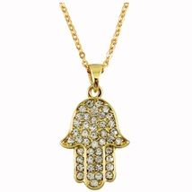 Golden Hamsa Clear Crystals Rhodium Pendant & Necklace Judaica Kabbalah