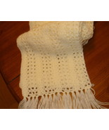 Hand crocheted ivory/off white lacy pattern scarf with fringe - $15.00