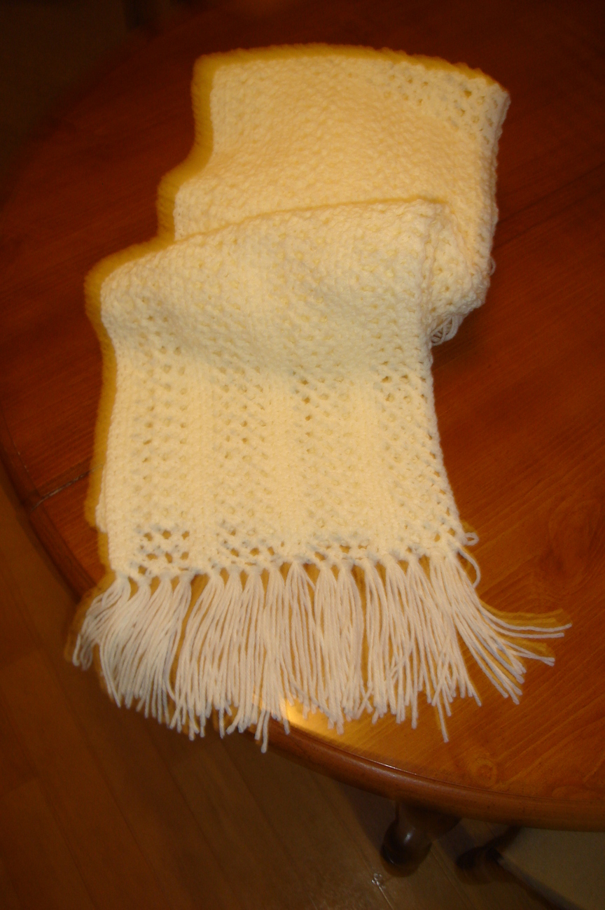 Hand crocheted ivory/off white lacy pattern scarf with fringe