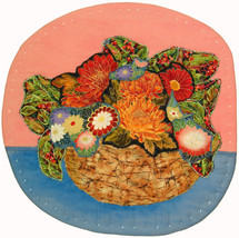 An item in the Art category: Bowl of Flowers: Quilted Art Wall Hanging