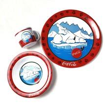 Gibson Coca-Cola Bear on Ice Dish Set Melamine 3 Pc Dinnerware Plastic Coke - $19.99
