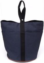 Hermes Tote Navy Black Sac De Plage Gm Cotton Leather Shopper Bag - $688.75