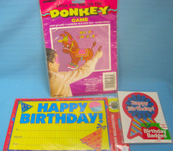 Happy Birthday Child Party Lot Stick Tail on Donkey Game & Awards + Badges  - ₨867.00 INR