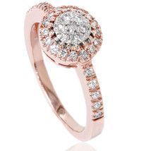 1/2ct Halo Cluster Diamond Ring 14K Rose Gold - $569.99