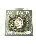 JJ Jonette Vintage Picture Frame Brooch with Red Rhinestones Pin - $17.69