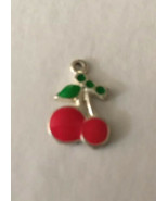 "Vintage Necklace Pendant 2 Red Cherries On Stem 1/2"" H X 1/2"" W - $0.94"
