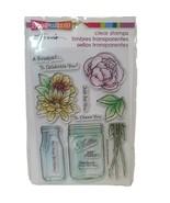 Flower Bouquet for You Clear Acrylic Stamp Set w/ Mason Jar & Milk Bottl... - $9.49