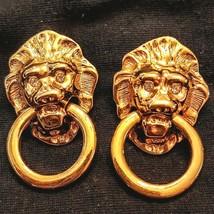 Kenneth J Lane Lion Door Knocker Earrings KJL Avon Gold Tone Rhinestones Pierced - $38.61