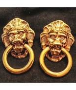 Kenneth J Lane Lion Door Knocker Earrings KJL Avon Gold Tone Rhinestones... - $38.61
