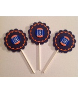 Mlb Detroit Tigers Cupcake Toppers Party Deco Baseball Birthday Blue Han... - $12.00