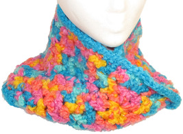 Bright-colored crocheted neck/head warmer image 1