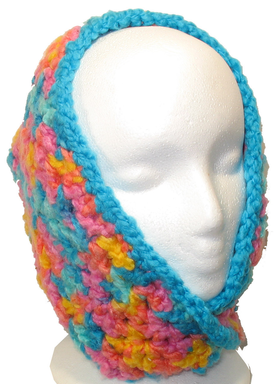 Bright-colored crocheted neck/head warmer image 2