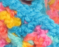 Bright-colored crocheted neck/head warmer image 3