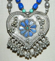 Tibetan Silver Turquoise Blue Lapis Heart Flower Pendant Choker Necklace... - $643.50