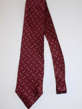 "Vintage MENS NECKTIE Red SILk 56"" Long BILL BLASS TIE Geometric Pattern - $11.87"