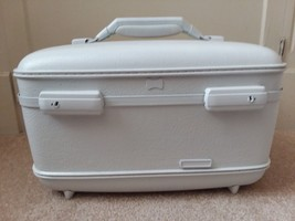 Vtg Painted White American Tourister Train Case Cosmetic Hard Shell Luggage - $51.97