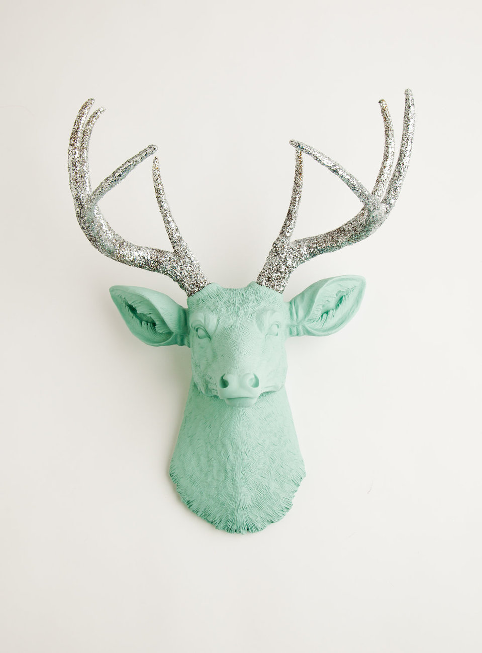 The Agnes Seafoam Green W Silver Glitter Antlers Resin