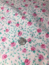 Vintage Fabric Traditions 1992 Pink Cotton Roses Fabric 2.8 Yards x42 Wide - $24.74