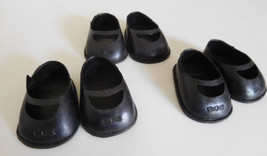 "Vintage Lot 3 Pair Black Plastic Slip on Shoes for 10"" Doll New Old Stor... - $6.99"