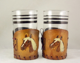 Vintage glasses with Western horse head design tooled leather holders - $20.00