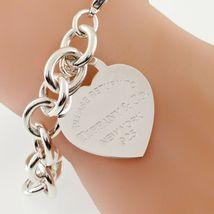 """Tiffany & Co. Plata de Ley """"Retorno a """"Corazón Etiqueta Pulsera Grande Talla W/ image 3"""