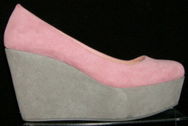 Divided by H&M pink gray colorblock square toe slip on platform wedges 7 - $23.52