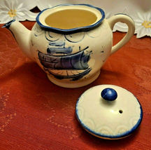 Vintage Japan Embossed Cobalt Blue w Sailboat Teapot, Hand Painted image 4