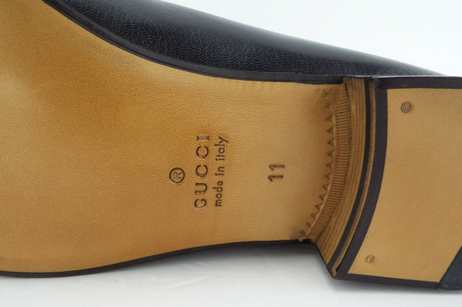 b73a0bfb532 New GUCCI Size 12 Black Leather Horsebit Collapsible Mule Loafers Shoes UK  11