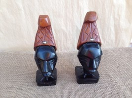Lot of 2 Vtg African Hand Carved Wood Tribal Folk Art Head Sculpture Sta... - $19.75