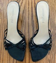 Kenneth Cole NY Sz 8.5 M Black Strappy Open Toe Slip On Sandals Heels Women's - $14.99