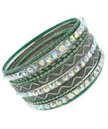 Silver Patina Green Bangle Boho Crystal Ab Aurora Borealis Bracelet Set ... - $19.97
