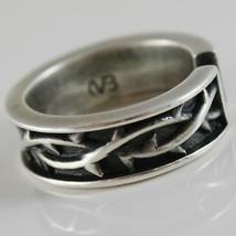 Ring aus Silber 925 Brüniert A Band mit Krone von Dornen und Größe Einstellbar image 2