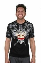 Ruthless Art Forever King Skull Tattoo Tee Black W/ Red Rhinestone Gems T-shirt
