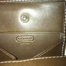 $68 COACH MEN'S  EXPANDABLE BLEEKER PVC & LEATHER COIN PURSE CASE BROWN image 2