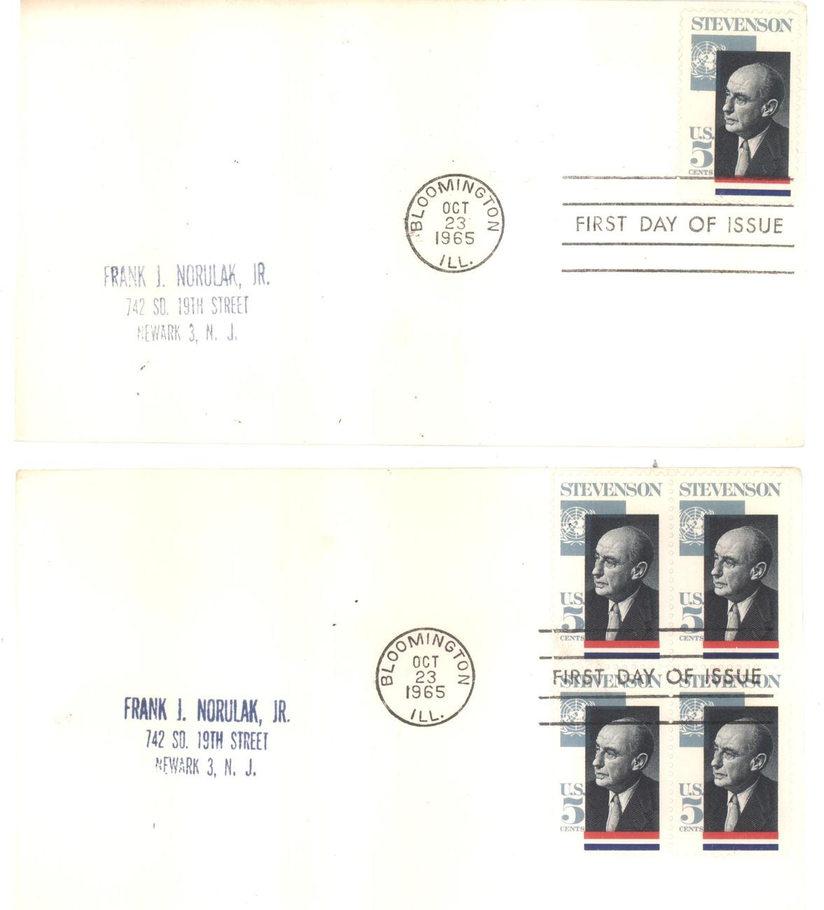 Adlai Stevenson 5 cents First Day Covers Bloomington, IL Oct  23, 1965