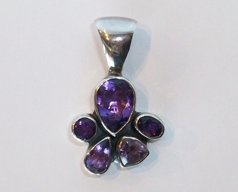 Primary image for Amethyst 5 Stone Pendant in Sterling by Gertrude Zachary, New