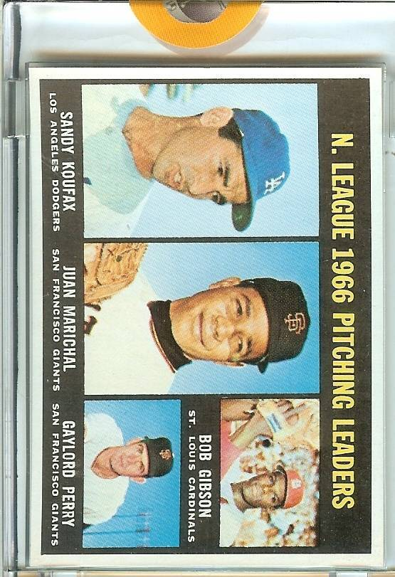 1967 topps proof 1966 nl pitching leaders , koufax,marichal,gibson, perry 1/1 ra