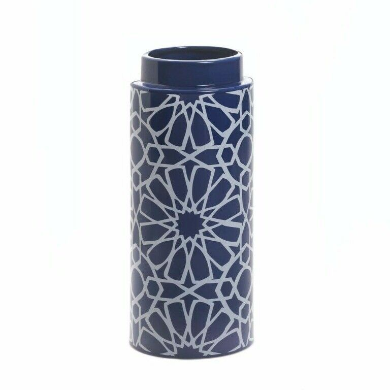 "Primary image for Orion Blue & White Vase w/ Geometric Pattern 11.5"" High"