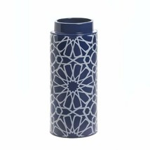 "Orion Blue & White Vase w/ Geometric Pattern 11.5"" High - $31.63"