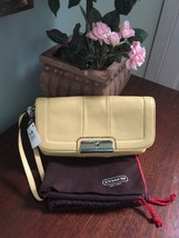 New Coach Wristlet Kristin Yellow Leather Convertible Clutch Dust Bag 45... - $59.39