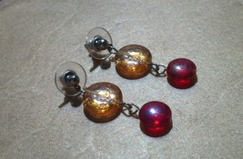 Bright Multi Color Gold Glass Earrings With Moon and Stars Hand Made In USA - $19.99