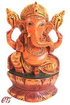 Wooden Ganesha Figurine handmade statue Carved Painted Hindu God Sculpture  - $26.73