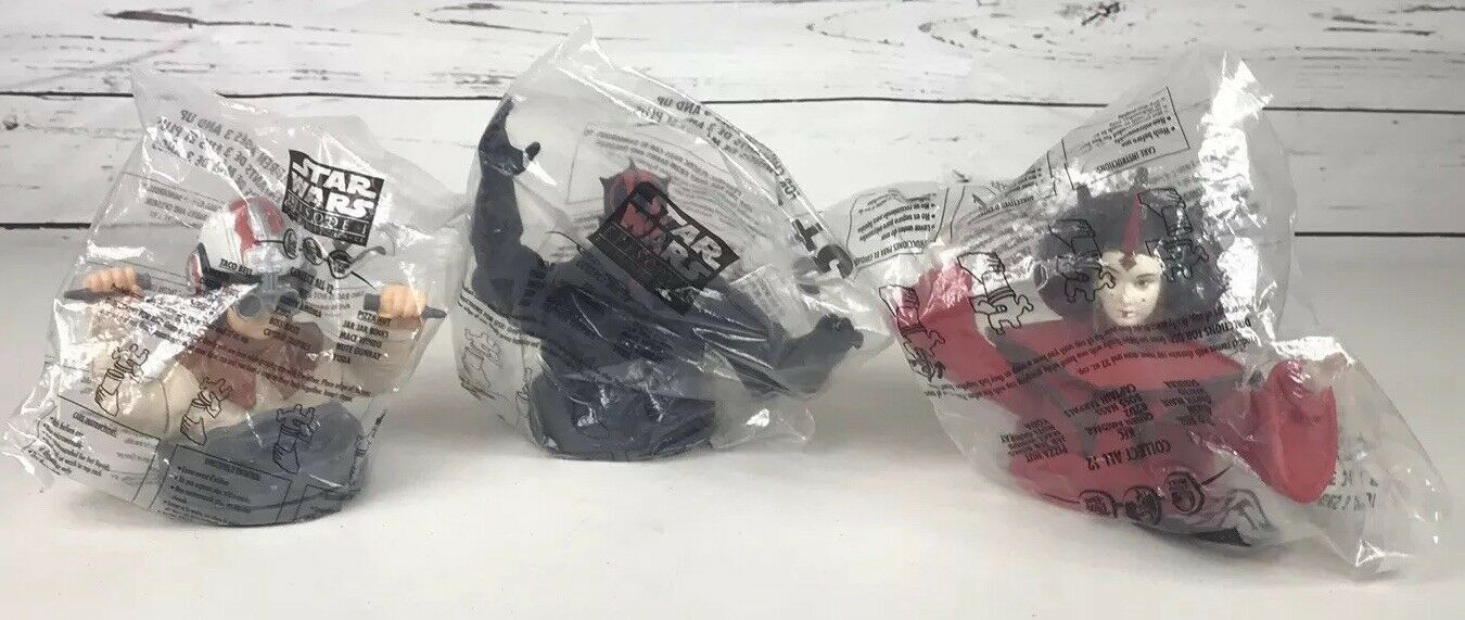 Primary image for SET OF 3 Star Wars Episode 1 Cup Toppers Taco Bell KFC Pizza Hut 1999 NEW SEALED