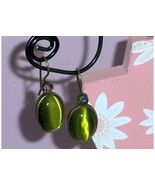 Green Cats Eye and AB Earrings - $9.97