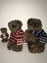 Polo Ralph Lauren Plush Teddy Bear Family 2003 Toy Collectible 3 Bears W... - $26.96
