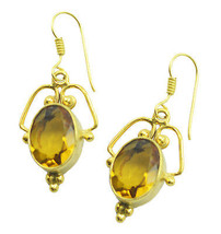 bewitching Citrine CZ Gold Plated Yellow Earring Natural easily US gift - $11.87