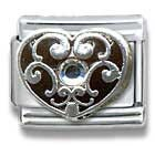 Primary image for Casa D'Oro April Heart Birthstone 9MM Italian Charm Great Gift! Casa D' Oro