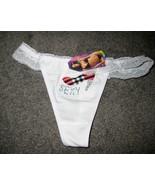 WOMENS THONG PANTIES UNDERWARE WHITE SEXY SHOE SIZE SMALL #57 - $6.99